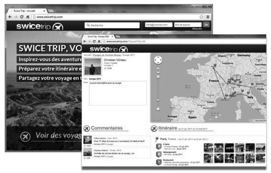 Figure 1. Deux interfaces principales du site SwiceTrip