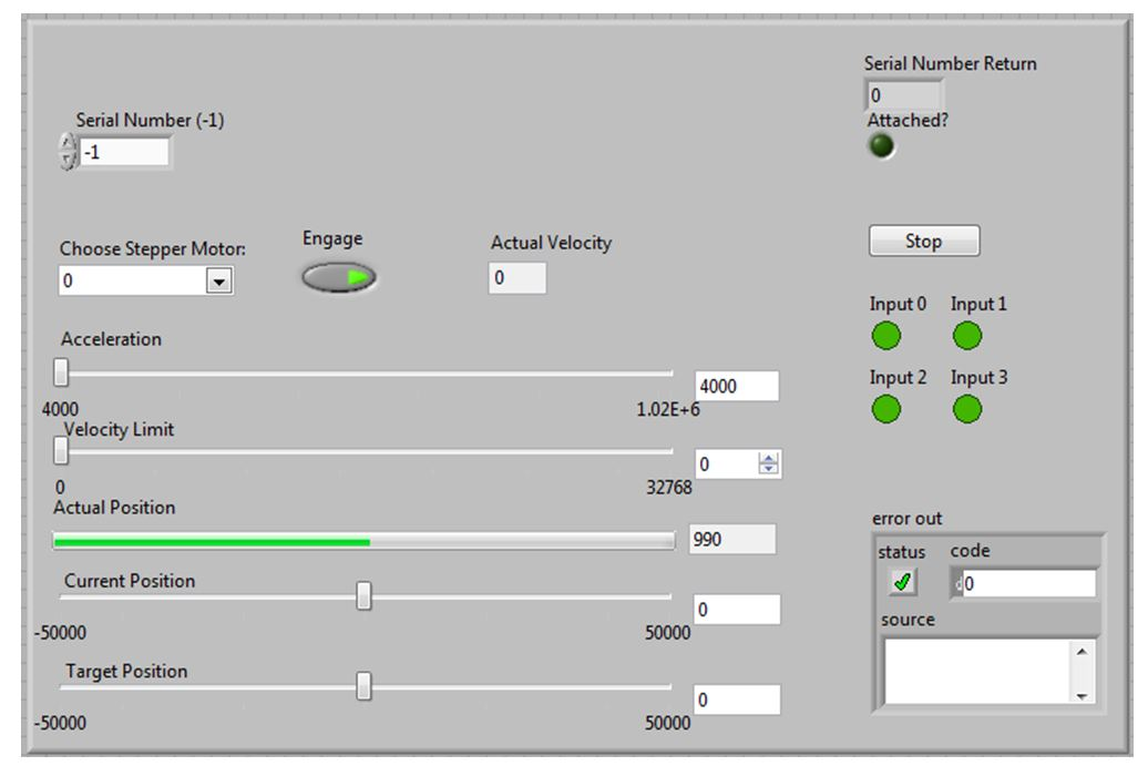 Screen capture of the user interface of the control panel