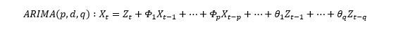 Équation du modéle ARIMA pour modéliser la demande des réseaux LTE
