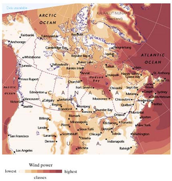 Fig. 1: Wind power map in North America. Source [Img1].