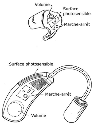 Deux prototypes de prothèses auditives équipées de surfaces photosensibles pour la micrograpillage d'énergie lumineuse, alimentées par énergie solaire [2].