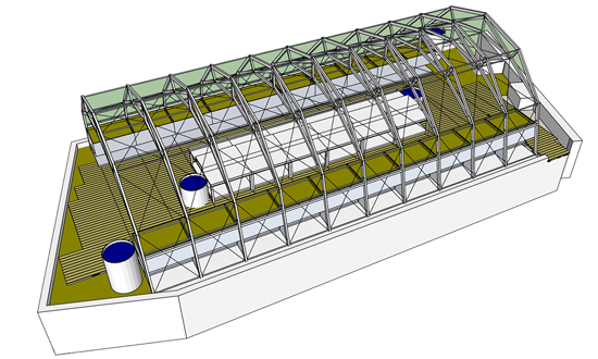 L'architecture de la serre actuellement proposée par le concepteur Rune Kongshaug, designer et concepteur du studio de design Produktif