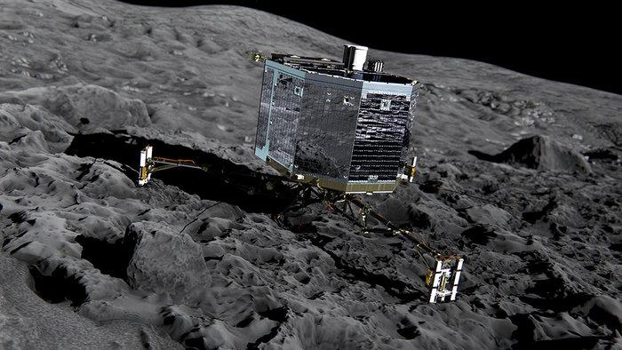 Image 5: ESA/Rosetta - Vue artistique de l'atterrissage de Philae sur la surface de la comète 67P