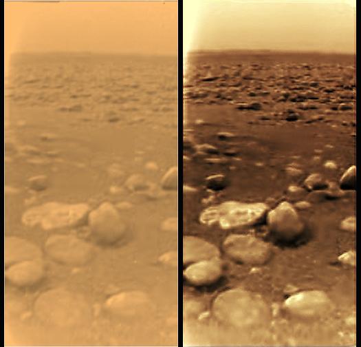 Deux images de la surface de Titan prise à l'aide d'un traitement distinct d'images. des cailloux de 10 à 15 cm possiblement à base de glace d'eau, reposent sur un substrat foncé.