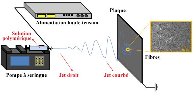 Figure no 4 – Appareillage de base de l'électrofilage et amalgame de filaments électrofilés typiquement obtenu lorsqu'observé à l'aide d'un microscope électronique à balayage (MEB)