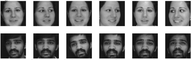 Figure no 1 : exemple de variations observées dans l'apparence faciale de deux personnes (tiré de la base de données Face in Action [1])