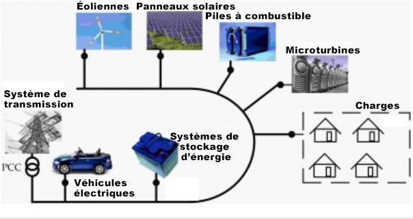 Figure1. Points de couplage communs (PCC) d'éléments divers dans un miniréseau.