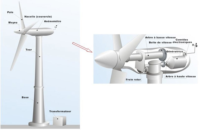 Figure 1. Schéma général d'une éolienne.