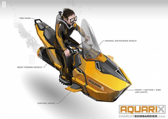 Aquarix est un sous-marin électrique personnelle propulsé par une turbine hydraulique. Avec sa technologie intégrée conducteur, il est conçu pour garder les plongeurs débutants à une distance sécuritaire des récifs coralliens et des fonds marins de l'océan afin de protéger ces beaux habitats marins.