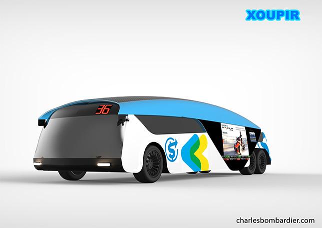 Xoupir est un autobus de ville futuriste sans conducteur à quatre roues motricesalimenté par électricité sans fil, conçu pourles utilisateurs d'aujourd'hui. Il dispose de vitres teintées intelligentes, d'accès internet WiMAX à ultra-haut débit gratuit et vous n'avezpas besoin d'acheter un billet ou un laissez-passer pour monter à bord.