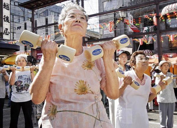 Elderly Japanese People Exercising