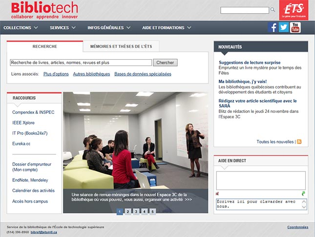 The ÉTS library web site is a good place to start an information search.