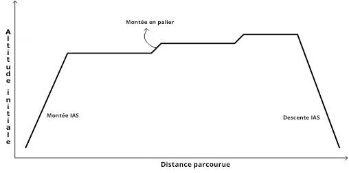 Représentation de la trajectoire de référence verticale d'un avion