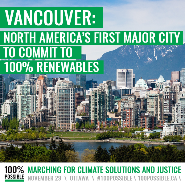 Affiche représentant La ville de Vancouver 100% propre en 2050.
