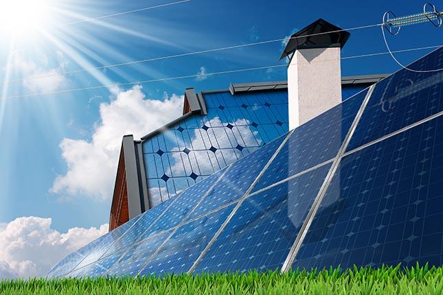 Un bâtiment puisant son énergie du climat grâce à des panneaux solaires.