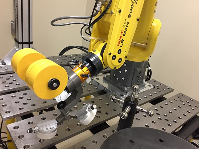 Measuring the end-effector pose with devices such as Creaform's C-Track can improved accuracy in robots