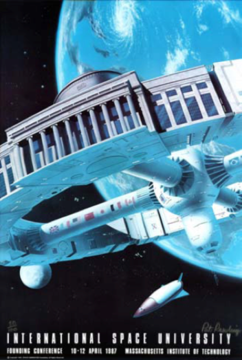 Poster for the conference held during the founding of the International Space University in April 1987, at the Massachusetts Institute of Technology (MIT). Source: [Img2]
