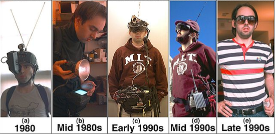 """The evolution of """"wearable"""" computers. Source [Img1]"""