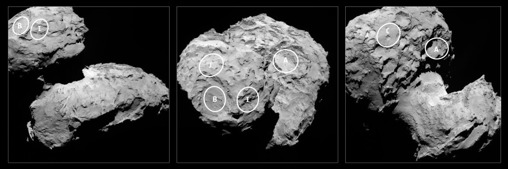 Picture 4: ESA/Rosetta – The fives sites selected for Philae dropping