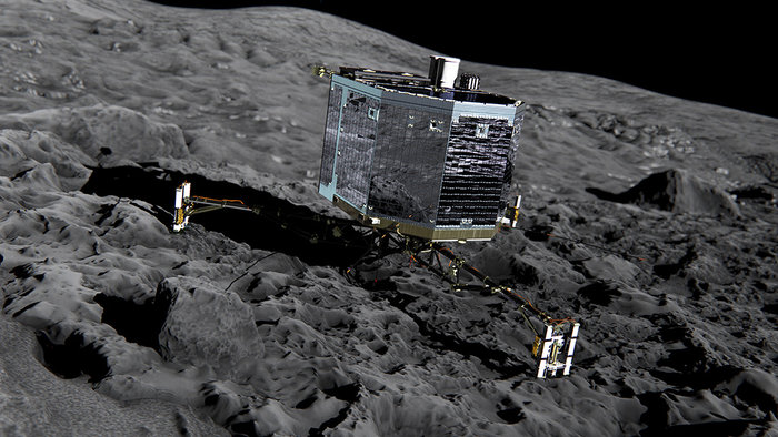 Picture 5: ESA/Rosetta - Artistic view of Philae landing on the surface of the comet 67P