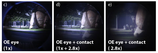 Images captured through the contact lens and mechanical model eye.
