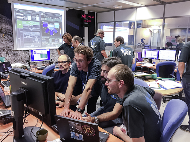 The SONC team (CNES, Toulouse)on 12th November 2014, during Philae landing. Credits: CNES/G.Cannat