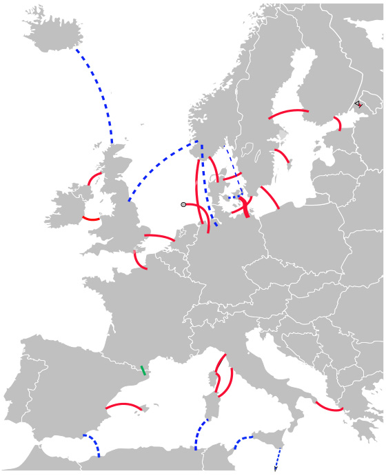 Figure 5. HVDC connections in Europe