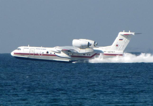 Beriev's Be-200 Altair in action scooping water.