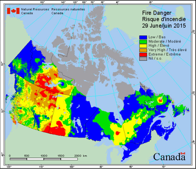 This image shows the areas at risk of wildfires according to the weather prediction made by environment Canada for June 29th, 2015 [3]. This day registered some of the highest temperatures in many years for western Canada.