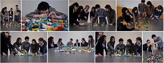 De jeunes adultes qui apprennent à communiquer et à améliorer leur processus d'idéation avec la méthode LEGO SERIOUS PLAY