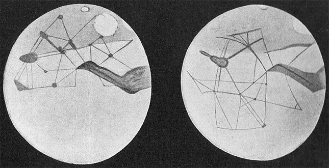 Une représentation des canaux de Mars réalisée par l'astronome Percival Lowell en 1898.