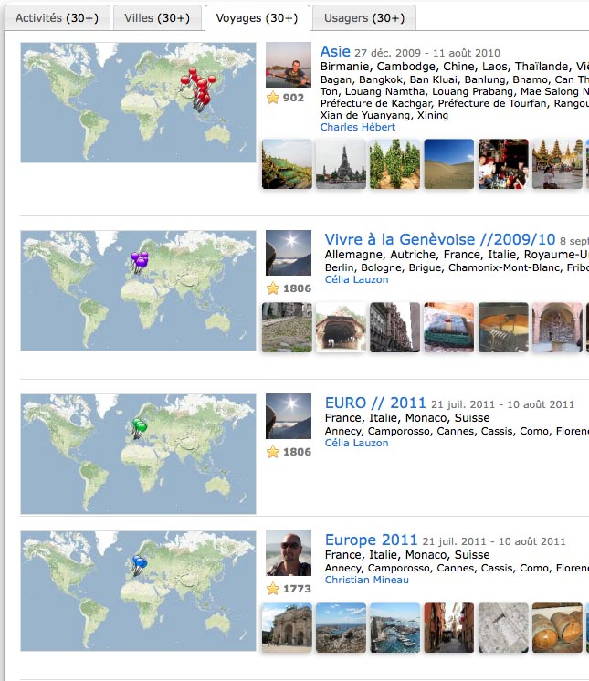Figure 2. users interface to create travel itineraries and share useful information with fellow travelers