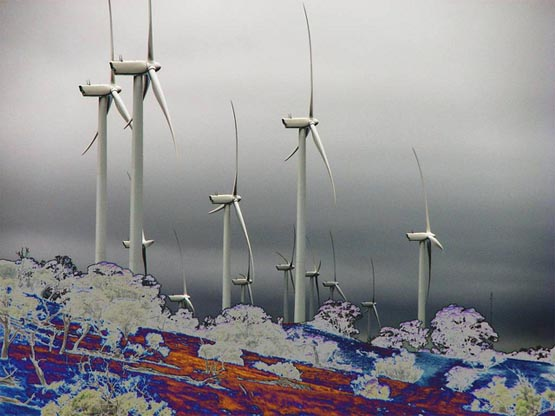 Artistic representation of the Waterloo Wind Farm about 30km SE of Clare in Mid North South Australia.