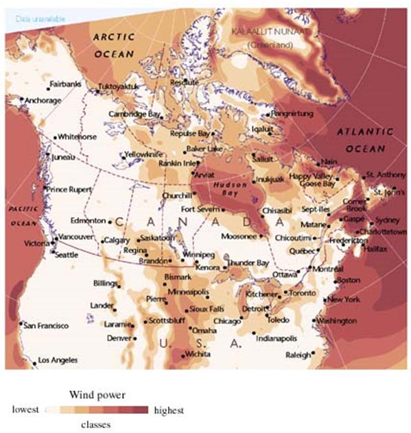 Wind power map in North America.
