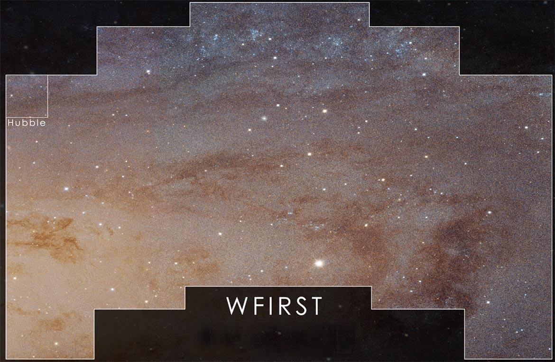 Le champ de vision du ciel du futur télescope WFIRST que Nüvü Camēras pourra explorer
