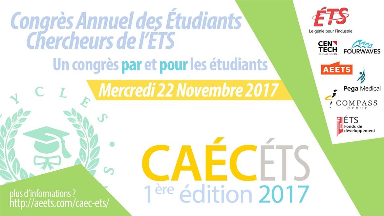 L'affiche conçu par CAÉCÉTS de l'ÉTS pour le congrès de recherche des étudiants de l'ÉTS