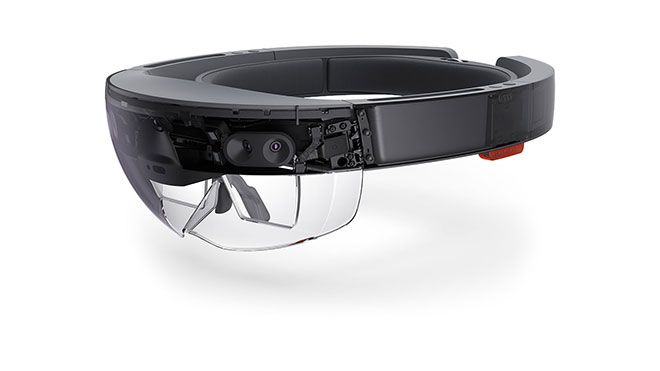 The HoloLens uses augmented reality