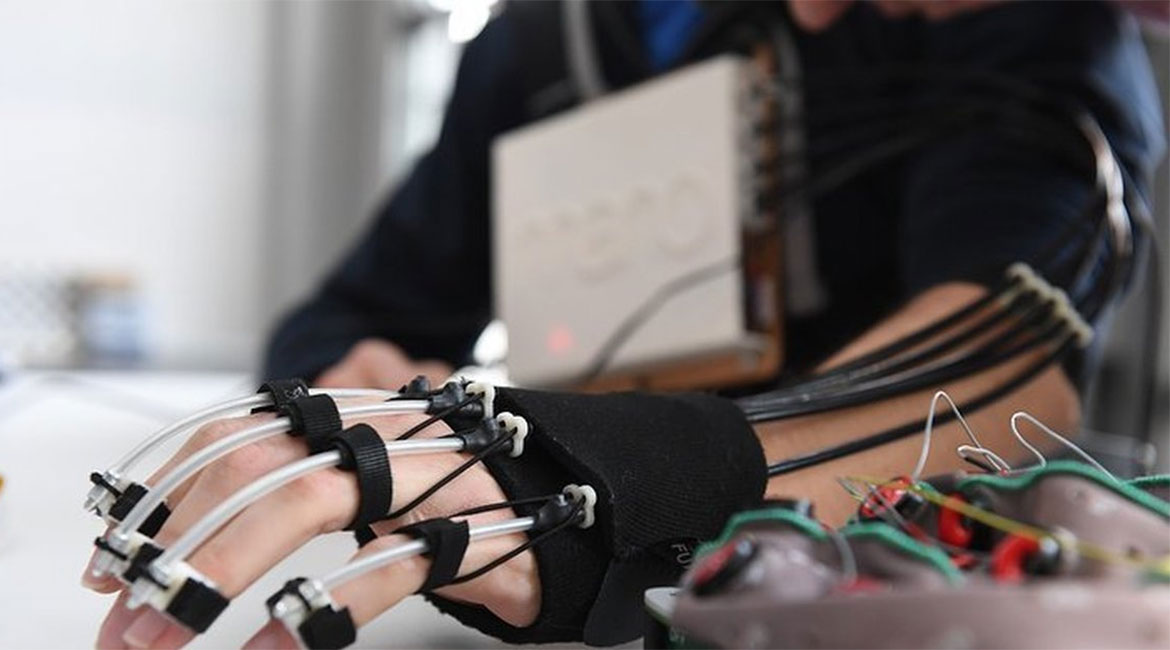 An exoskeleton hand that is thought-controlled