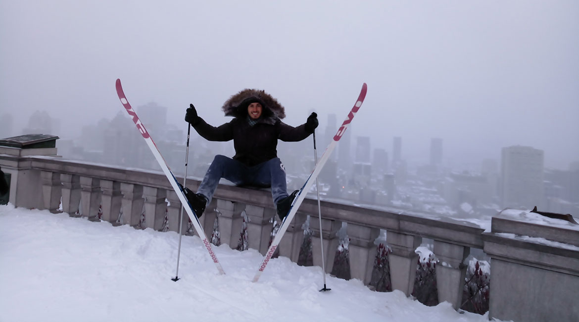 Student from France taking a break from his studies in Quebec to enjoy cross-country skiing on Mount Royal