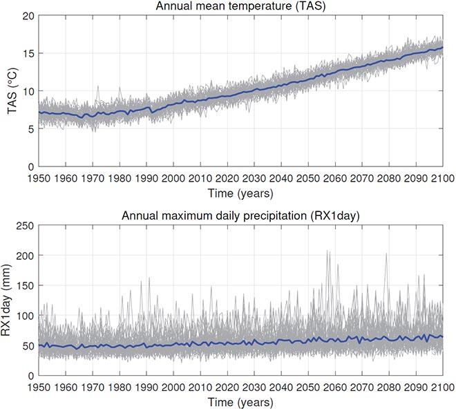 Temperature and precipitation simulations