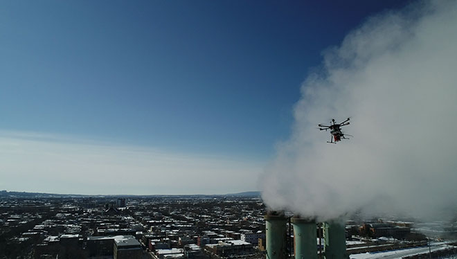 Drone measuring air quality