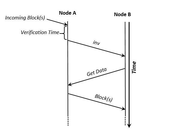 Exchanging blocks in a blockchain
