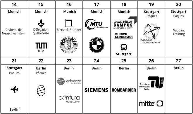 Horaire de la mission L'ETS GO 2019 en Allemagne