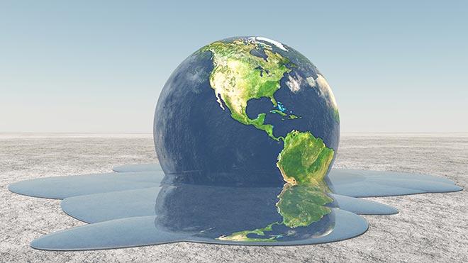 Terre se liquéfiant sous l'effet du réchauffement climatique