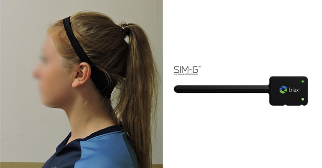 Female player wearing the SIM-G headband