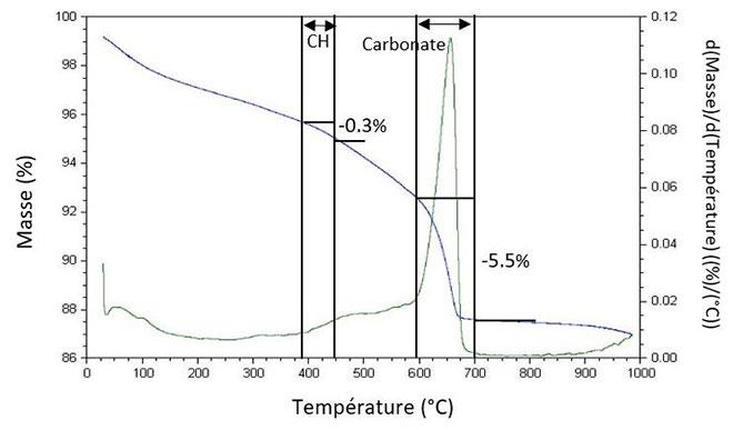 Analyse thermogravimétrique après carbonatation