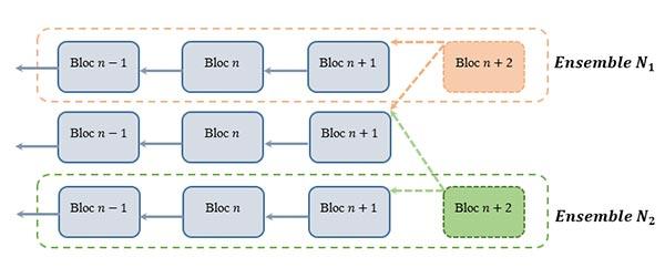 Deux branches d'une fourche dans le réseau Bitcoin