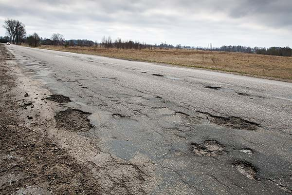 Cracks in a paved road
