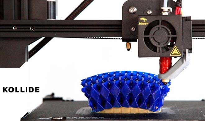 Non-planar 3D printing of the lattice structure from Kollide-ETS