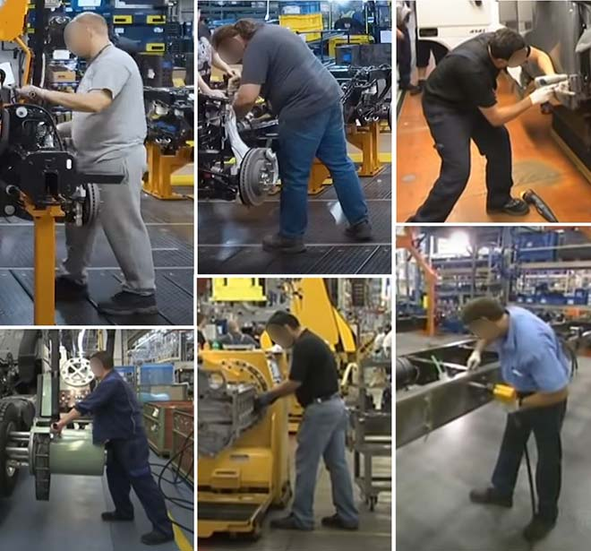 Workers' foot positioning